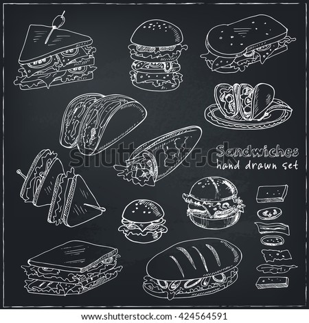 vector set of sandwiches club