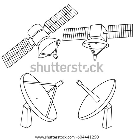 vector set of satellite