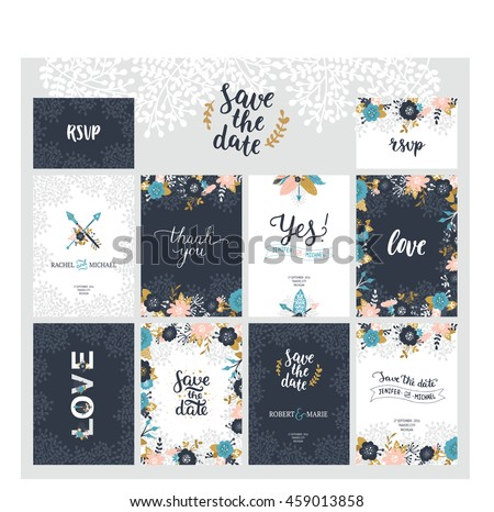 vector set of save the date