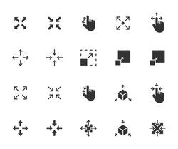 Vector set of scaling flat icons. Contains icons resize, increase, decrease, scalability and more. Pixel perfect.