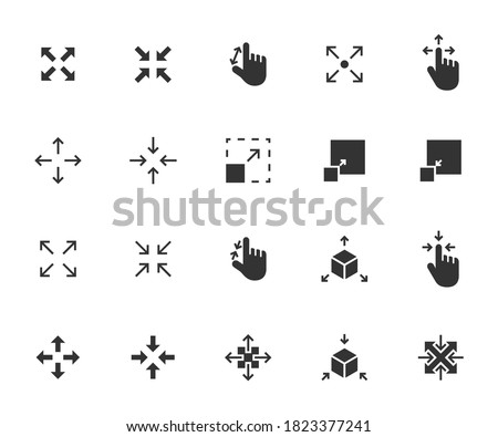 Vector set of scaling flat icons. Contains icons resize, increase, decrease, scalability and more. Pixel perfect. Сток-фото ©
