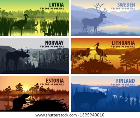 vector set of scandinavia and