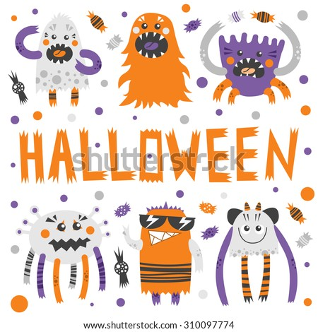 vector set of scary  but cute