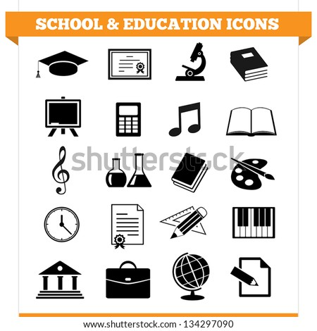 Vector set of school and education icons and design elements for college, academy or other educational institution. Illustration on white background.