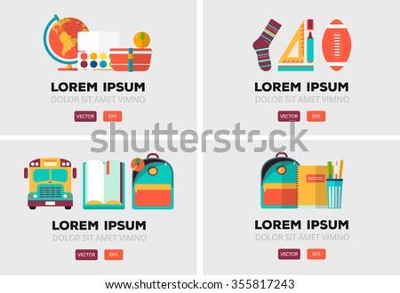 vector set of school logos in