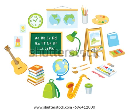 Vector set of school supplies