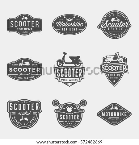 vector set of scooter rental logos, emblems and design elements. motorbike for rent logotype templates and badges.