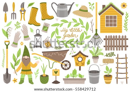 Vector set of scrapbook elements: house, gardening tools, plants and flowers, decoration and cartoon character gnome. Vintage collection
