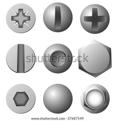Vector set of screws, bolts and rivets isolated on white background.