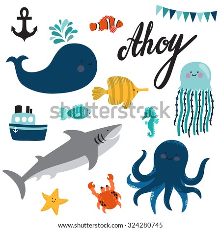 vector set of sea creatures and