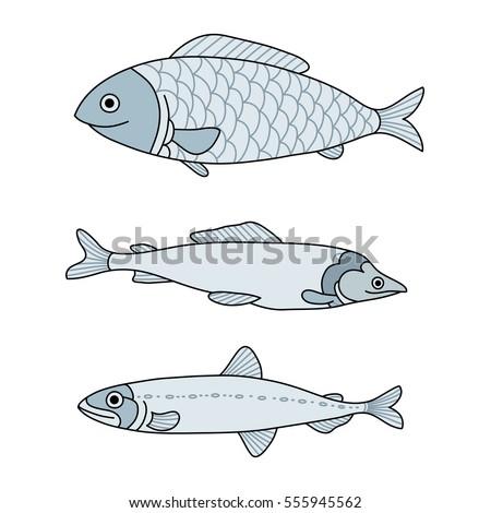 vector set of sea fish menu