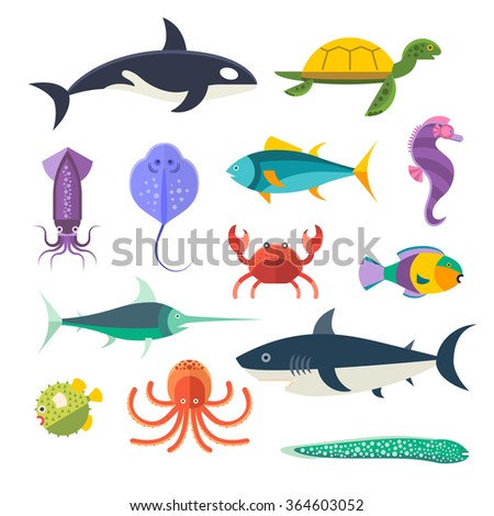 vector set of sea marine fish