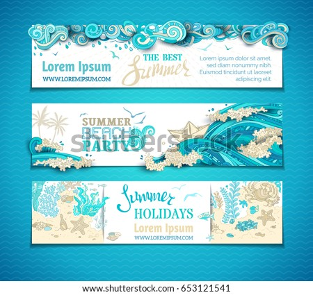 Vector set of sea/ocean horizontal banners. Clouds in the sky, ocean waves, gulls and underwater wild life. Summer holidays. Summer beach party. There is copy space for your text on white background.