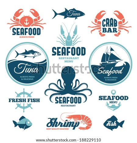 vector set of seafood labels