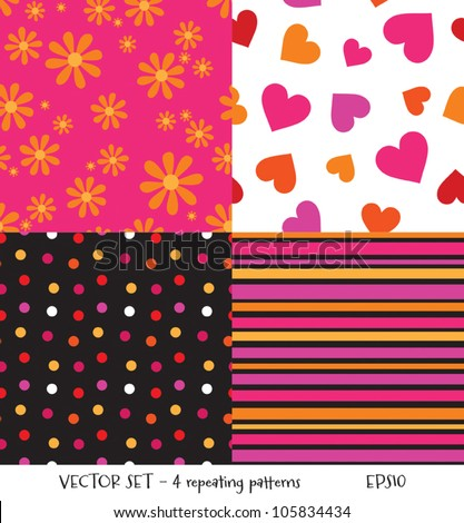 Vector set of 4 seamless background patterns. Can be used for textiles and surface textures, scrap-booking, greeting cards, gift wrap, wallpapers. See my portfolio for JPEG versions.