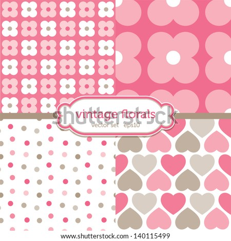 ShutterStock Vector set of seamless background patterns with hearts
