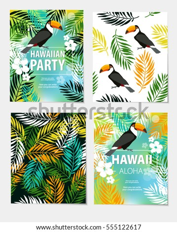 """Vector set of seamless backgrounds, posters and """"Hawaii. Aloha. Hawaiian party"""". foliage, trees, toucan. beach, summer, travel. Invitation, greeting card, poster, poster. #555122617"""