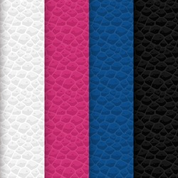 Vector set of seamless leather patterns. Colors of textures are aligned with trendy tones which have forecast by trendsetters. Here is a certain types of pink and blue tints and also white and black.