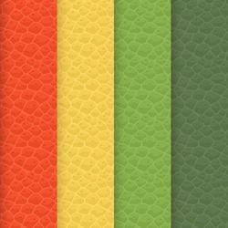 Vector set of seamless leather textures. Shades of patterns are aligned with trendy palette which have forecast for Spring by trendsetters. Here is a specific types of orange, yellow and green tints.