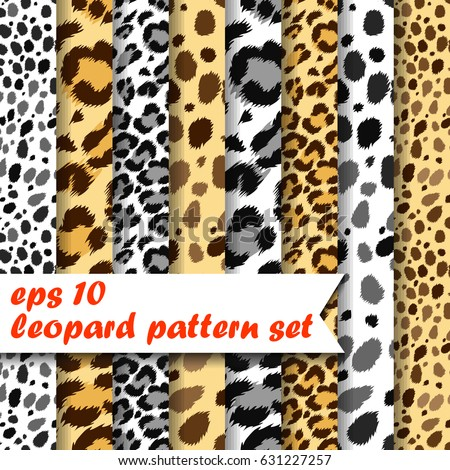 Vector set of 8 seamless natural color leopard patterns.