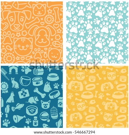 Vector set of seamless patterns and backgrounds with  icons related to pets and animals - abstract backgrounds for pet shop websites and prints