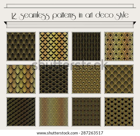 Vector set of seamless patterns in art deco vintage style