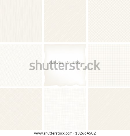 Vector set of seamless patterns. Neutral abstract backgrounds. Texture of fabric