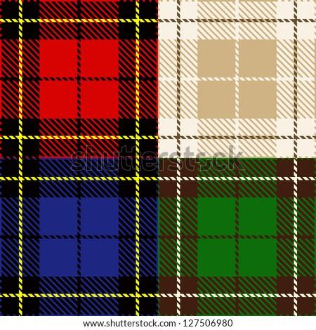 vector set of seamless plaid fabric