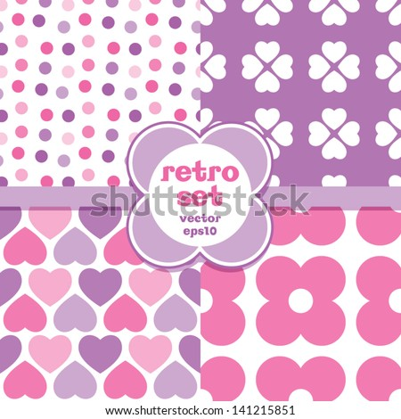 Vector set of seamless retro background patterns in pink and purple Good for Baby Mother's Day wedding scrapbook surface textures See my folio for other colors and for JPEG versions