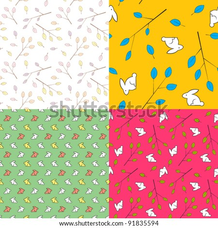 Vector set of  seamless textures with leafs and rabbits - stock vector