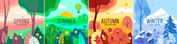 Vector set of seasons illustrations. Spring, summer, autumn, winter - landscapes in a flat style.