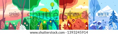 Vector set of seasons illustrations. Spring, summer, autumn, winter - landscapes in a flat style. stock photo
