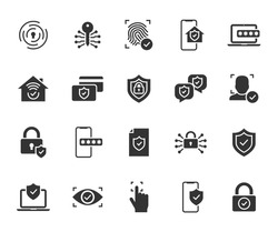 Vector set of security flat icons. Contains icons digital lock, cyber security, password, smart home, computer security, electronic key, fingerprint and more. Pixel perfect.