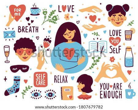 Vector set of self care icons. Love, relax, me time, slow life concept. Cute girl or woman hugging herself. Sticker collection with heart shape and lettering elements. Female body health illustration