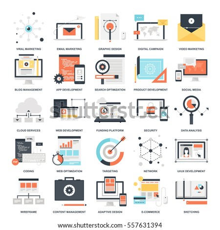 Vector set of SEO and development flat web icons. Illustration graphic design concepts. Modern flat icon style. Symbols for mobile and web graphics. Logo creative concepts.