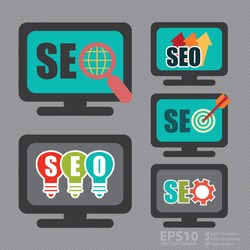 Vector : Set of SEO, Search Engine Optimization Concept, Various Style of SEO With Computer Screen