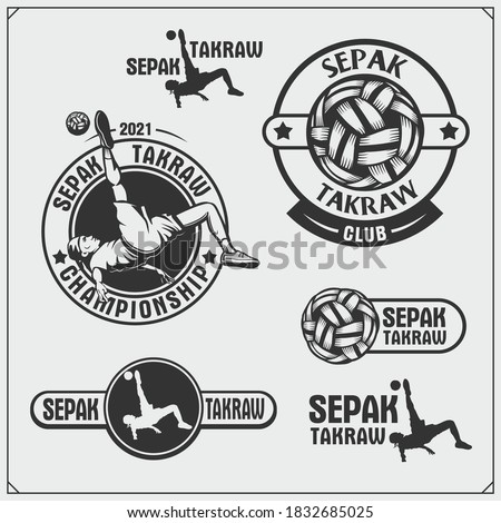 Vector set of Sepak Takraw and fitness emblems and labels. Athletes illustrations and silhouettes.