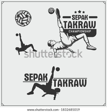 Vector set of Sepak Takraw emblems and labels. Athletes illustrations and silhouettes.