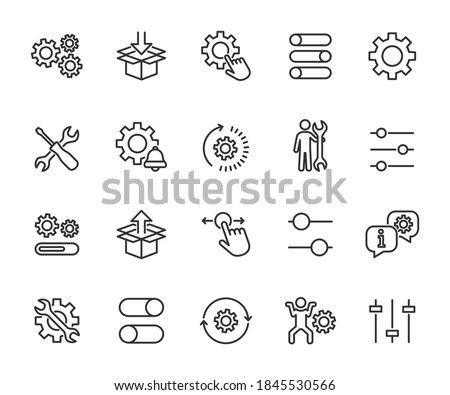 Vector set of setup line icons. Contains icons settings, installation, maintenance, update, download, configuration, options, restore settings and more. Pixel perfect. Photo stock ©