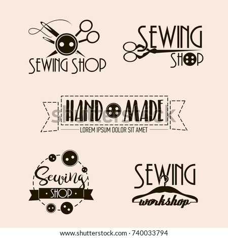 Vector set of sewing and tailor shops labels with sewing machine, thimble, scissors, needle. Vector illustration