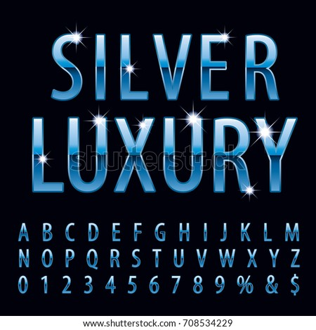 Vector set of shiny blue metal alphabet letters and numbers