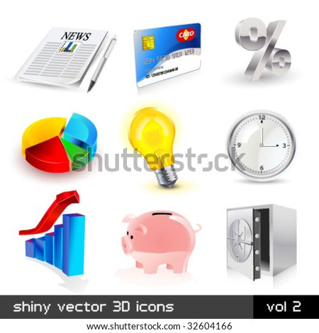Vector set of shiny finace 3d icons. Visit my portfolio to see similar! - stock vector