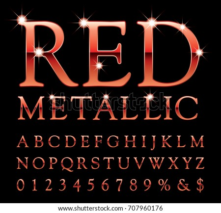 Vector set of shiny red metal alphabet letters and numbers #707960176