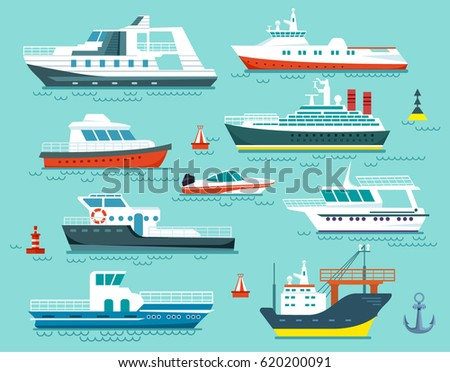Vector set of ships and boats in flat cartoon style.Illustration of delivery,cargo and passenger marine ships on blue sea background