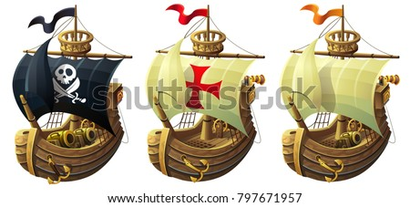vector set of ships isolated on white background. A commercial and pirate ship with a cannon.