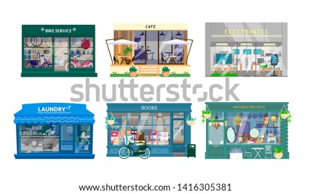 Vector set of shops exteriors. Bycicle service, cafe, laundry, books shop, antiques and gifts shop, electronics. Flat cartoon style. Store fronts.
