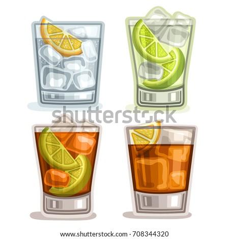 vector set of short drinks  4