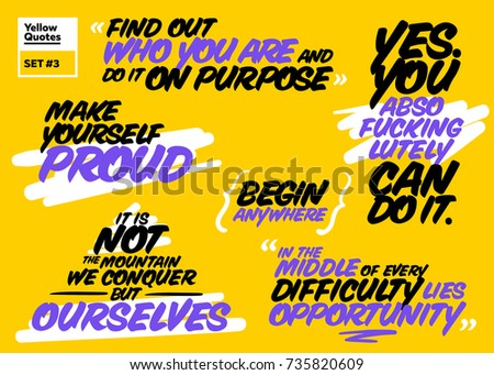 Vector Set of Short Motivational Quotes. Inspiring Cards. Handwriting Brush Typography. Set of Positive Messages about Success, Proud, Life, Happy, Achievement, Opportunity. Inspirational Sayings.