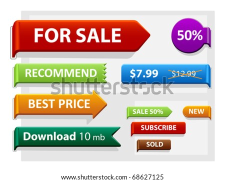 Vector set of sign board, price tag, pointers. Easy to change. - stock vector