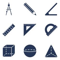 Vector Set of  Silhouette Geometry School Icons